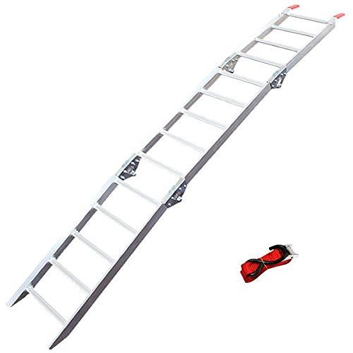 WEIMALL アルミラダー 折りたたみ 三つ折りタイプ ベルト付き 軽量 コンパクト 滑りにくい アルミ ラダーレール アルミブリッジ Eタイプ