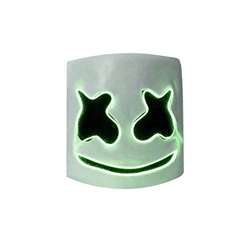 DJ Marshmallow LED Light Mask, Music Festival Marshmallow Full Head Casco de Látex Máscara de Halloween Fiesta de Disfraces Cosplay Bar Props(Verde)