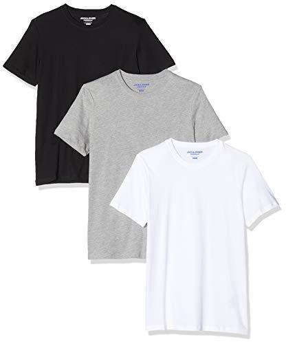 JACK & JONES Herren Jorbasic Ss Tee Crew Neck 3-Pack Ka T-Shirt, Blau (White Black & Lgm), Medium (Herstellergröße: M) (3er Pack)