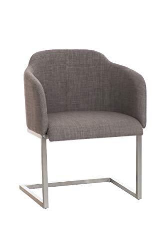 CLP Edelstahl Freischwinger-Stuhl Magnus mit Stoffbezug, Besucherstuhl mit Armlehne, Konferenzstuhl gepolstert, Farbe:grau