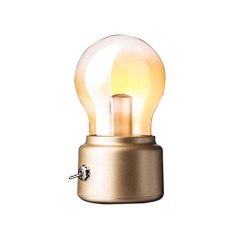 Soriace®Mini LED Tischlampe, Drahtlose Batteriebetrieben Nachtlicht Vintage Lampe neben Tisch und Bett mit USB Ladekabel - Gold