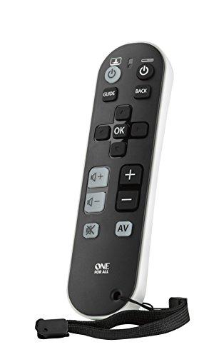 One For All Zapper TV Universal Fernbedienung TV - Steuerung von 3 Endgeräten - TV / Smart TV Set Top Box und Audiogeräte - Große Tasten - Funktioniert garantiert mit allen Herstellermarken – URC6810