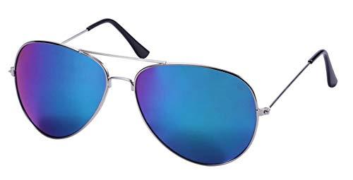 WODISON  Weinlese-Flieger-Sonnenbrille-reflektierende Spiegel-Objektiv Nachtsichtbrille mit Metall Rahmen Autofahren Polarisiert, Einheitsgröße, Grün Mix Blau-objektiv