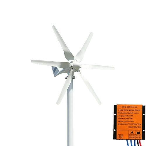 FLTXNY Power Kit éolienne 800 W 12 V haute efficacité pour utilisation domestique 6 lames en fibre de nylon 58 cm avec contrôleur de charge du vent MPPT …