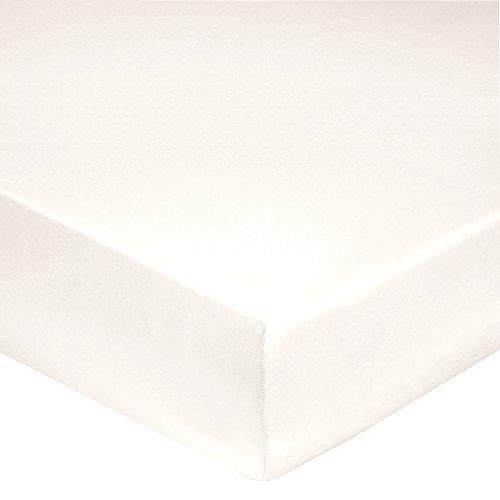 Blanc des Vosges Uni Percale Drap housse 4 Têtes Coton Nougat 140 x 190 cm bonnet de 30 cm