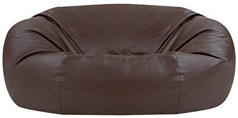 Bean Bag Bazaar Sitzsack in Sofaform aus Kunstleder, Braun, Riesige 2-Sitzer Sitzsäcke für das Wohnzimmer, 150cm x 115cm, Extra groß, Sitzsäcke für Erwachsene