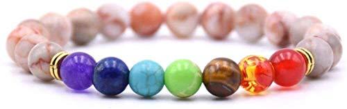 PRTOYO Pulsera de Piedra Mujer, 7 Chakra Polla de Piedra Natural Blanco Pulsera de Jade Elástico Lucky Bangle Yoga Hoop de Oro Joyería de Moda para Unisex
