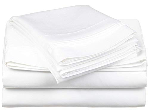 HS Linen -- Flat Sheet Genuine Hotel Quality 100% Egyptian Cotton 600 Thread Count 1 Piece Flat Sheet (Top Sheet) Available in Many Attractive Solid Colors (White) King Size
