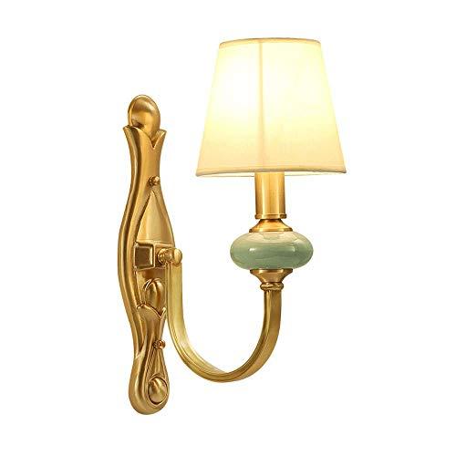 Apliques de cobre para lámpara de pared, luces de pared americanas con pantalla de tela, taza de lámpara de cerámica, accesorio de iluminación para decoración del hogar interior para pasillo de hotel