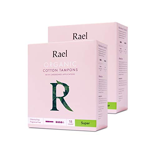 Rael Organic Cardboard Applicator Tampons  Super Absorbency with New Easy Grip Applicator Unscented Biodegradable Chlorine Free for Sensitive Skin 36ct Total Pack of 2 Super