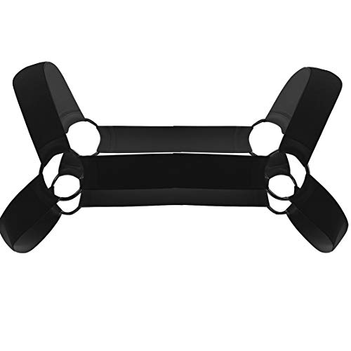 ACSUSS Men's Strong Nylon Body Chest Shoulder Support Harness Belt Punk Costume Type A Black One Size