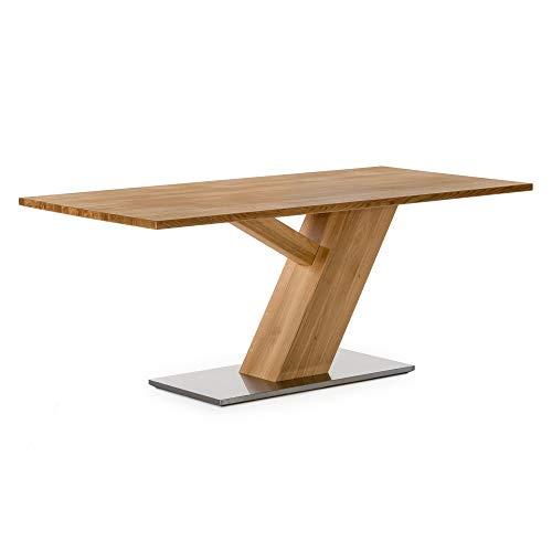 Amazon Marke -Alkove - Hayes - Massivholztisch mit Edelstahlunterbau, 160cm, Wildeiche