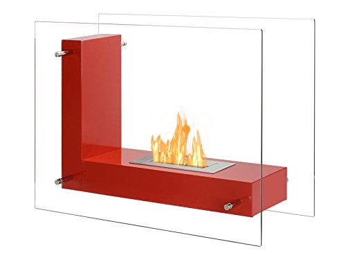 Save %15 Now! IGNIS Freestanding Ventless Bio Ethanol Fireplace - Vitrum L Red