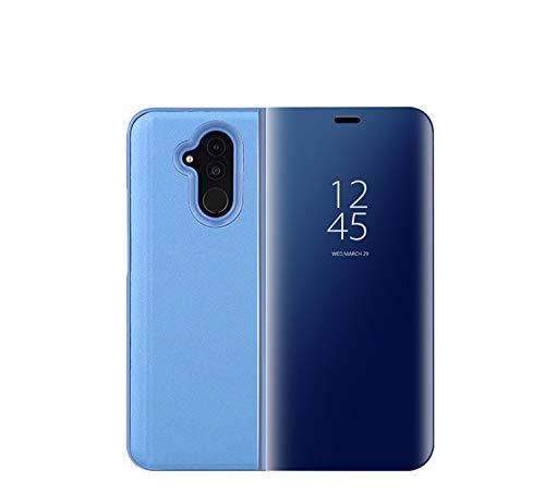 FANFO Huawei Mate 20 Lite Funda - Modelo Inteligente Fecha/Hora Ver Espejo Brillante tirón del Caso Duro con para el Huawei Mate 20 Lite, Azul