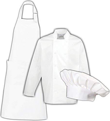 Shirtinstyle Set für Hobbyköche und Bäcker Kochjacke, Kochschürze und Kochmütze, Größe L, Farbe Weiss
