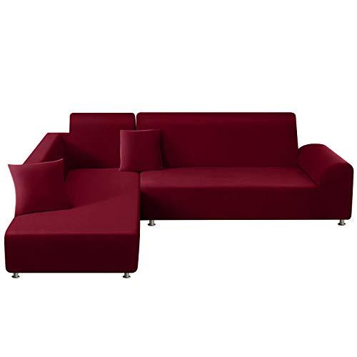 TAOCOCO Sofabezug mit Halbinsel, elastisch, Chaiselongue Sofaüberwurf, zusammenbaubar, aus Polyester in L-Form (burgunderrot, 3-Sitzer + 3-Sitzer)
