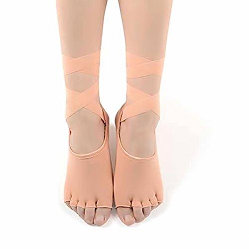 Blue BD Yoga sokken zonder tenen met elastische band, strik, eenheidsmaat, zwart, antislip, ABS, korte sokken, antislip, rubberen zool, yoga, dans, fitness, Pilates 5-tenen-sokken, anti-slip, grip