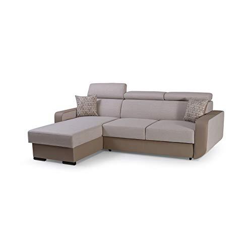 mb-moebel Ecksofa mit Schlaffunktion Eckcouch mit Bettkasten Sofa Couch Wohnlandschaft L-Form Polsterecke Pedro (Cappuccino, Ecksofa Links)