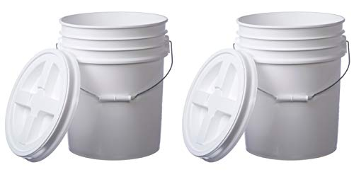 Letica Premium 5 Gallon Bucket with Gamma Seal Lid, HDPE, White, 2 Pack