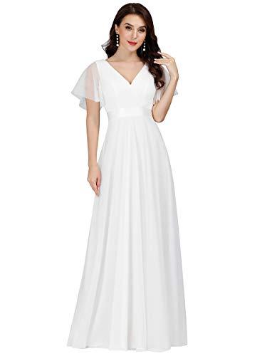 Ever-Pretty Damen Abendkleid A-Linie Tüll Brautjungfer Partykleid Kurze Ärmel lang Weiß 50