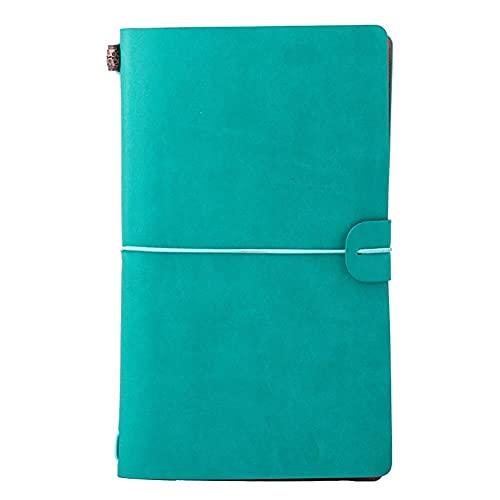Ponend - Diario de viaje A6 con rayas, vintage, piel sintética, diario de viaje, con papel de estraza amarillo, cuaderno rellenable para dibujar, bocetos (verde)