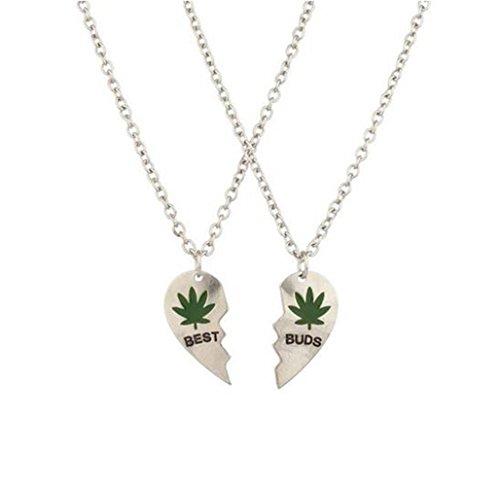 Gudeke Hoja de Marihuana Mejores brotes BFF de los Mejores Amigos de San Valentín del Corazón de la Hoja de Cannabis Weed Pot Collares Pendientes (2 PC) (Plata)