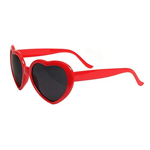 DFGHA Herz-Effekt-Beugungsbrille Klar, Herz-Refraktionsbrille, 3D-Rave-Brille, Regenbogen-Herz-Sonnenbrille, Rave-Ausrüstung Für Männer Und Frauen (Rot)