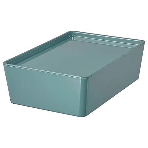IKEA Kuggis Box mit Deckel aus Kunststoff 18x26x8 cm grautürkis