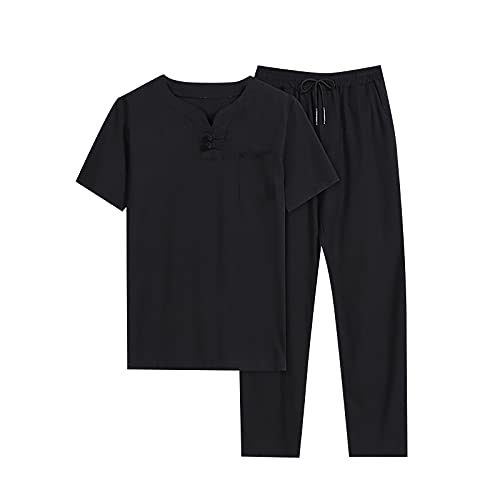 Men's Retro Cotton Linen Long-Sleeved T-Shirt Top Loose Pants Two-Piece Suit Tracksuit Summer Spring Casual