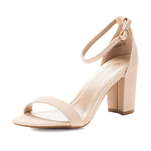 DREAM PAIRS Women's Chunk Nude Nubuck Low Heel Pump Sandals - 6.5 M US