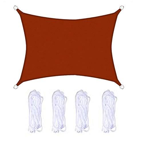 Toldo Vela de Sombra Rectángulo HDPE Impermeable Transpirable Toldo de Protección Solar para Jardín Aire Libre Patio Terraza Partido Bloqueo de Rayos UV. (2x2.5m,Rojo óxido)