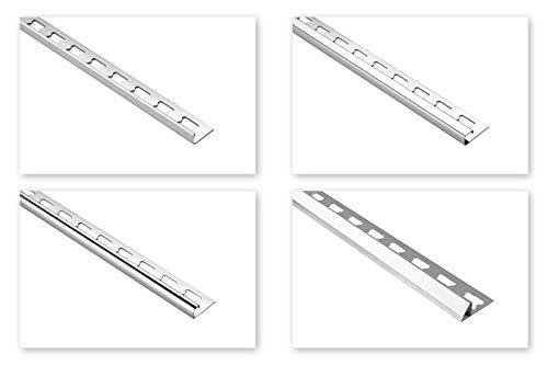 HEXIM Fliesenschienen/Edelstahlschienen, silber glänzend 2m - große Auswahl an Schienenhöhen und Profilen, V2A Edelstahl - 10mm Übergangsprofil