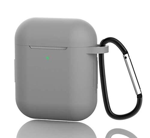 AirPods Hülle Schutzhülle Silikon Schutzhülle, Mit Karabiner Kompatibel mit dem Apple AirPods Charging Case 2 & 1, Front-LED Sichtbar, Anti-verlorener Bügel-Anti-Staub-Stecker (Grau)