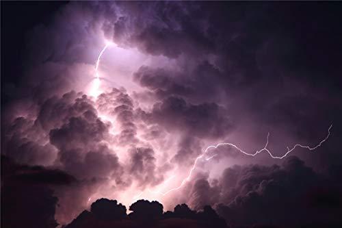 lxlwxh541 Diamant Painting Bilder Sky Clouds Night Lightning Tree Arts Craft für Wohnwanddekoration 40x50CM Runden