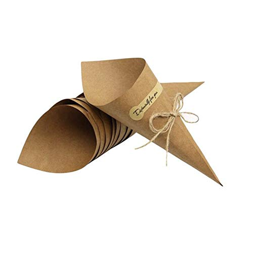Angelliu 100pcs Laser Cut Hollow Confetti Cones Candy Gift Boxes for Party Wedding Favour