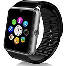 GT08 Bluetooth Smart Watch with SIM Card Slot and NFC Smart Health Watch for Android(Full Functions) and iOS(Partial Functions) Bracelet Smartwatch (Silver Black Band)