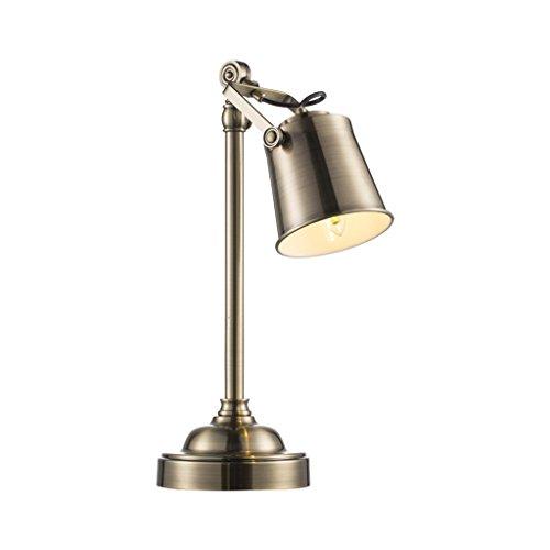 Lampes de table Lampe de table chambre lampe de chevet rétro style industriel lampe en métal Bureau lampe d'apprentissage A+++ (Color : Brass)