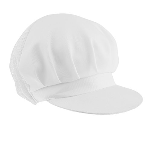 chiwanji 2Pcs Chef Hat White Polyester One Size Elastic Back Adult Cooking Worker Hat