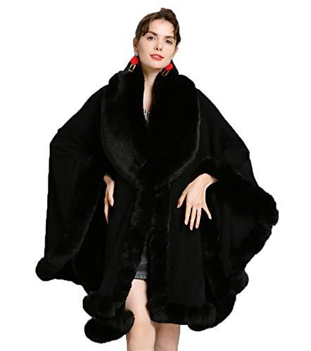 Damen Kaschmir Cape Fox Pelzbesatz Kragen Wickel Umhang Poncho Übergroße Kaltwetter Open Front Pullover Strickjacke Strick Soft Outwear Mit Ärmel Schwarz