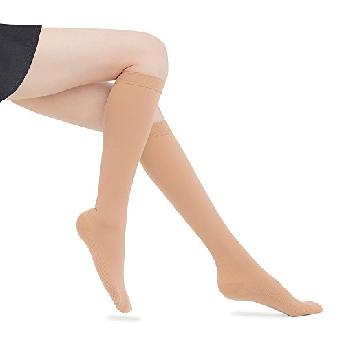 Fytto 1020 Women's Compression Socks, Opaque 15-20mmHg – Knee High Circulatory Hosiery for Travel, Varicose Veins and Swelling Leg, Nude, Small