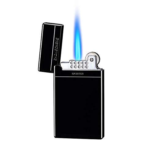 Malisseladi Fackelfeuerzeug Jet Flame Nachfüllbares Butanfeuerzeug Radzündung Winddichtes Feuerzeug Einstellbare Flamme Taschen Zigarettenanzünder mit Geschenkbox (schwarz)