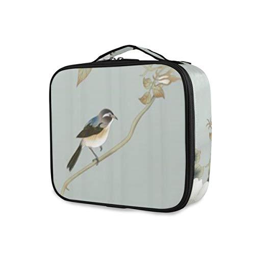 SUGARHE Weiße Blume Plum Bird Sparrow Grey Background,Kosmetik Reise Kulturbeutel Täschchen mit...