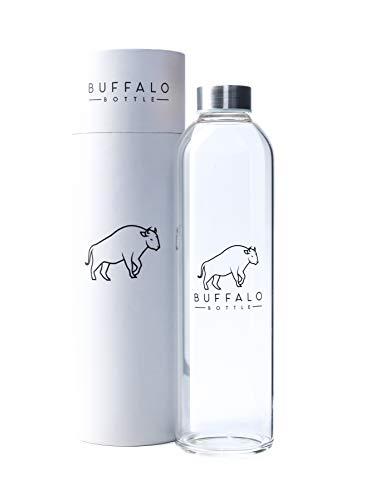 Buffalo Bottle Borosilikatglas Trinkflasche auslaufsicher BPA frei, lebensmittelechte Glasflasche, Wasserflasche Glas, Sportflasche, Getränkeflasche mit Edelstahldeckel, 1l