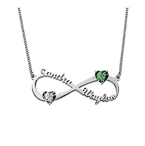 Nome Collane Collana con nome Infinity personalizzato con 2 ciondolo a forma di cuore Birthstone - Mamma fidanzata(Argento-16)