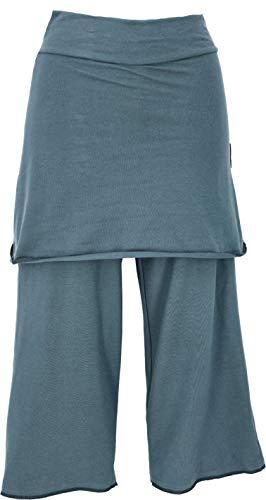 GURU SHOP Pantalones de yoga 3/4 con falda, holgados, para mujer, sintéticos, largos, ropa alternativa azul grisáceo M