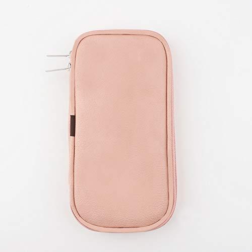 PPuujia Mini estuche cosmético de belleza caja de brochas de maquillaje, organizador de artista, multifunción, con cremallera, para viajes y hogar (color: rosa)