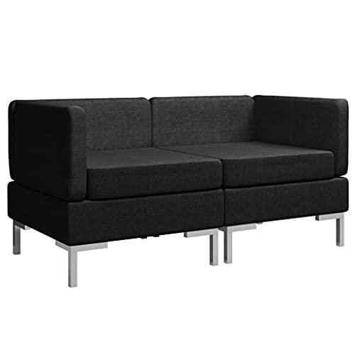 vidaXL 2X Ecksofa Modular mit Auflagen 2-Sitzer Sofa Loungesofa Polstersofa Stoffsofa Sitzmöbel Sofagarnitur Wohnzimmersofa Stoff Schwarz