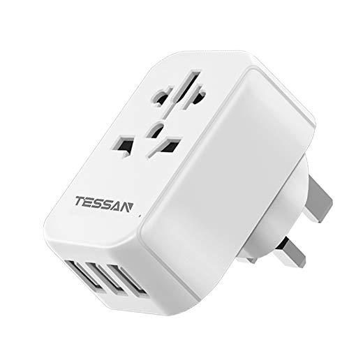 TESSAN Reiseadapter UK England Adapter stecker mit 3 USB(2.4A), zum Anschluss ausländischer Geräte, z.B. Eu, China Australien, Steckdosenadapter Stromadapter für Irland Schottland,Typ g Stecker
