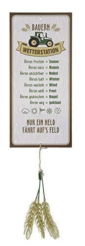 G.H. Wetterstein, Wetterstation als Aluschild, Modell Bauer mit Ähren, Material Metall, Maße Schild 30 x 14 cm