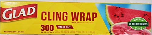 Glad Cling Wrap 300 Square Ft. Roll (Pack of 2)